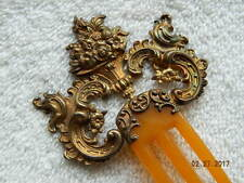 Antique Sterling Silver & Bakelite Ornate Floral Boquet Hair Comb Hair Piece Old