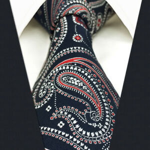 SHLAX&WING Silk Mens Necktie Blue Red Paisley Tie Wedding Party for Suit Jacket