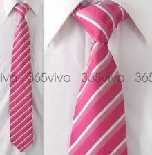 Deep Pink White Stripe Men Handmade Necktie 100% Woven Silk 8 cm Wedding Tie