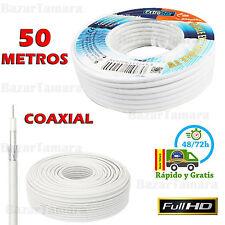 CABLE DE ANTENA COAXIAL PARA TV TDT ROLLO BOBINA 50 METROS RG6U SAT CALIDAD 50M