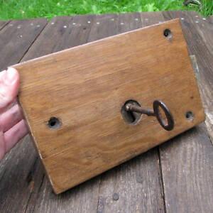 Antique Oak Encased Rim Door Lock with WORKING KEY Left OR Right
