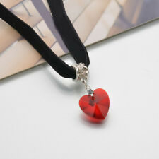 Heart Shape Charm Pendant Chocker Necklace Vintage Goth Velvet Necklace Jewelry