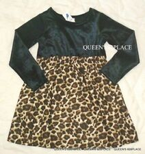 New 77kids American Eagle girls 4 4T Black Velour leopard dress Holidays Nwt
