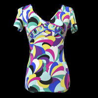 EMILIO PUCCI Vintage Short Sleeve Tops Multi-Color #S Authentic AK37992f