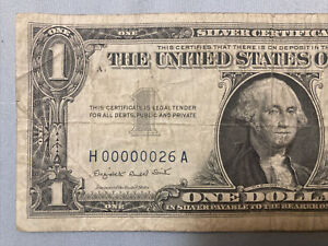 FR-1621 Series 1957-A $1 Silver Certificate Low SERIAL NUMBER 26 Very Rare NR