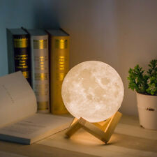 USB Rechargeable 3D Printing Moon Lamp Light LED Lunar Night Lights Wooden Mount