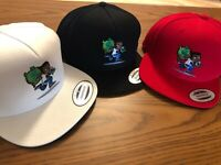RED, BLACK and WHITE SNAPBACK HATs