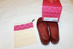 Tory Burch Minnie Travel Ballet Flat With Leather Logo/Soft Croco Emboss 7.5