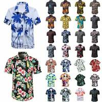 Mens Hawaiian Retro Short Sleeve Dress Shirt Summer Casual Beach Holiday Tops