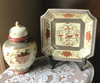"Vtg Andrea by Sadek 8"" Ginger Jar & Matching Square Plate Series #5893 & #5895"