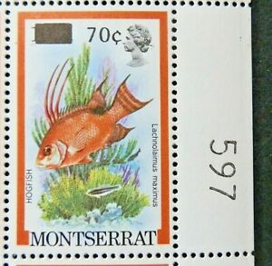 MONTSERRAT 1983 SG578 70c. ON 10c. HOGFISH AND NEON GOBY FISH  -  MNH