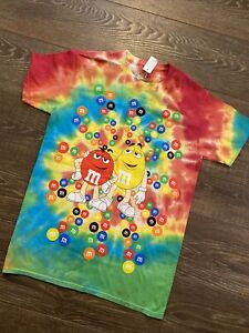 M&Ms Candy Adult Sz S 34/36 Tie Dye Multicolor Bright Shirt⭐️⭐️NWT