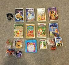 Vintage Disney 8 VHS Video & 10 Toy Figure Bundle,  Lion King, Winnie the Pooh