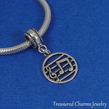 925 Sterling Silver Music Note Treble Clef Bead Charm - fits European Bracelets