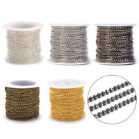 10.9yds//Roll 304 Stainless Steel Rolo Chains Oval Link Soldered String 1.5x1.2mm