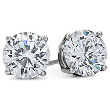 4 Carat Lab Created CZ Earring Set Brilliant Cut Solitaire 18K WHITE GOLD FILLED