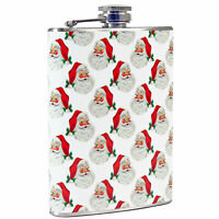 8 oz Pocket Flask Jolly Face Santa Christmas Liquor Gift Retro Vntg Image Decor