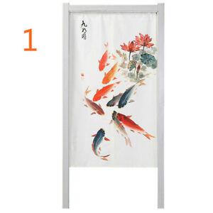 Japanese Noren Door Curtain Tapestry Feng Shui Fish Doorway Kitchen Cotton Linen
