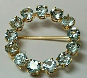 Vintage 18K Aquamarine Circle Brooch Pin (13) 4.8mm Rounds 5cttw. Nice Quality !