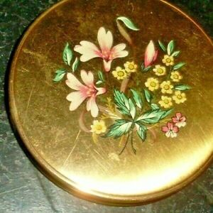 Vintage Retro 50s Floral Design Gold Tone Metal Powder Compact/Mirror-Collect
