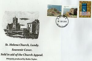 Lundy Island. St. Helena Church Souvenir Cover & Lundy Stamps. 2018.