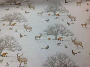 FRYETT`S 100% Cotton TATTON Woodland Fabric for Curtain/Upholstery-Fox-Stag-Deer