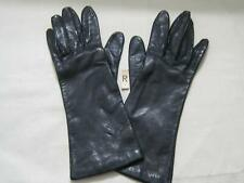 Vintage Ladies Black Leather Gloves Fownes Size 6-1/2 Over Cuff Lined w/Antron