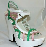 Platform Sandals Strappy Chunky Heels White Pink Green Color Block Women's Shoes