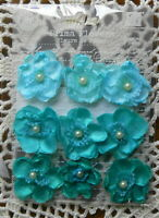 BRETTON Blooms TEAL 9 Fabric Satin Lace Flowers with Pearl Centre 25mm PRIMA 16