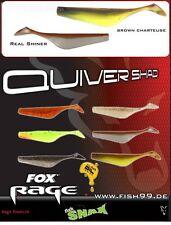 16 Stück Fox Rage Quiver Shad NSL 024 Brown Chartreuse + NSL 022 Real Shiner