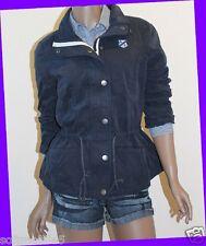 Abercrombie & Fitch BLACK Coat Jacket Outerwear MEDIUM M w FULL ZIPPER & BUTTONS