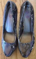 Torrid Heels Black, White, Purple, Gray Snakeskin Type Print Size 10 EUC