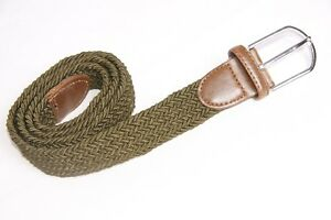 Boho Women Elastic Weaved Olive Khaki Stretchable Belt Different Sizes(S297)