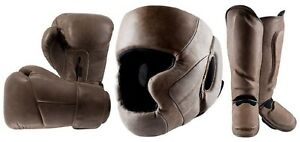 VINTAGE BROWN LEATHER BOXING GYM GLOVES,SHINE PAD,HEAD GUARD  & FITTING
