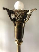 Vintage Brass Torchiere Floor Lamp Torch Hollywood Regency