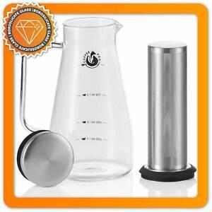 CoffeeFox Cold Brew Coffee Maker Glas   1L Kaffeezubereiter für kalten Kaffee