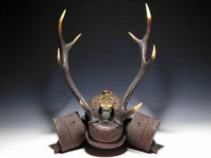 Kabuto form Sword Rack w Maedate Japan Original Sword Armor Antique okimono