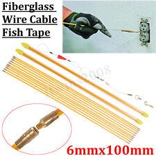 10x1M 6mm Kabel Einziehhilfe Kabeleinziehhilfe Führungsfeder Tape Pull Push Neu