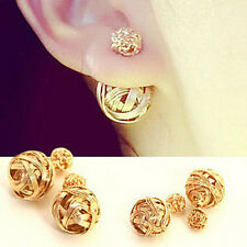 New Women Jewelry Fashion Ball Double Sided Alloy Plated Gold Silver Earrings B
