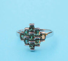 Genuine Oval Green Tourmaline Cluster Ring ~ 3 Carat T.W. ~ 14k White Gold