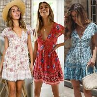 Evening Floral Boho Summer Sundress Mini Dress Beach Holiday Women Party Short