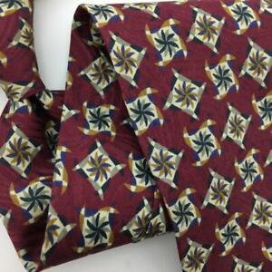 Jhane Barnes Japan Houndstooth Tie Maroon Rust Gray Silk Necktie Floral I17-149
