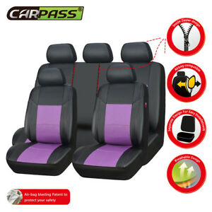 Universal Car Seat Covers Faux Leather Black Purple Full Set 11 pcs Airbag girls