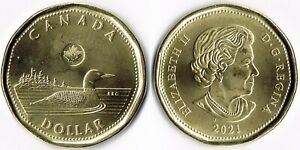 CANADA 2021 LOONIE, ROYAL CANADIAN MINT ONE DOLLAR COIN, Bright Circulated