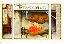 Turkey on Spit in Large Fireplace-Thanksgiving Holiday Greeting Vintage Postcard