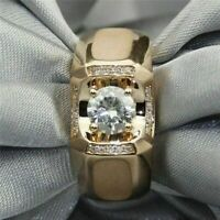 1.75 Ct Round Cut Diamond Mens Engagement Ring Wedding Band 14K Yellow Gold Over