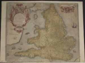 ENGLAND & WALES 1584 ABRAHAM ORTELIUS UNUSUAL ANTIQUE COPPER ENGRAVED MAP