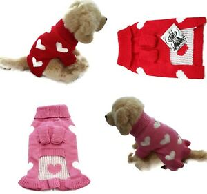 Valentine Dog Sweater Soft Thick Warm Cute Hearts Pink Red