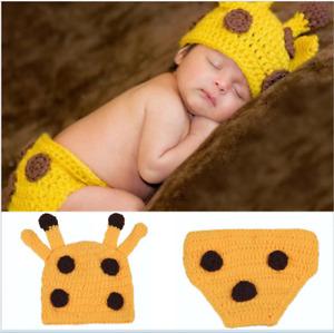Safari Animal Newborn Baby Girl Boy Crochet Knit Photo Giraffe Photography Prop