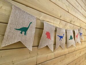 Dinosaur Bunting Hessian & Coloured Painted Dinos Fun Event Party Room Kids🦖🦕